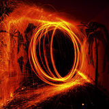 Fire Grinding. Circle of fire sparks in the dark Royalty Free Stock Photo