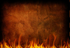 Fire Grunge. Fire and weathered grunge wall Royalty Free Stock Photography