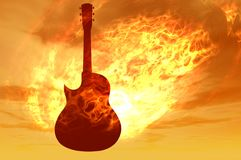 Fire guitar. On fire guitar 3d electric music render Stock Photos