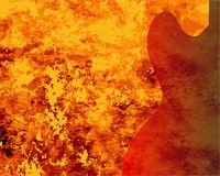 Fire Guitar Background. A faded semi acoustic guitar set on a red burning background Stock Photos