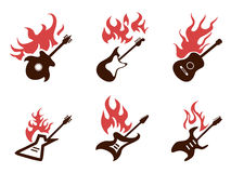 Fire guitar icons set Stock Image