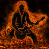 Fire guitarist Royalty Free Stock Images