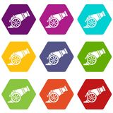Fire gun icons set 9 vector. Fire gun icons 9 set coloful isolated on white for web Royalty Free Stock Images
