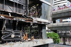 Fire Gutted Shopping Mall in Bangkok. BANGKOK - MAY 23: Fire damaged exterior of Zen Central World shopping mall in the aftermath of the anti government 'Red Stock Photography