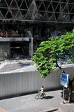 Fire Gutted Shopping Mall in Bangkok. BANGKOK - MAY 23: Fire damaged exterior of Zen Central World shopping mall in the aftermath of the anti government 'Red Stock Image