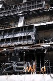 Fire Gutted Shopping Mall in Bangkok. BANGKOK - MAY 23: Fire damaged exterior of Zen Central World shopping mall in the aftermath of the anti government 'Red Stock Images