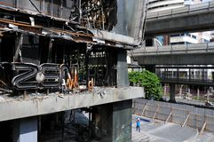 Fire Gutted Shopping Mall in Bangkok. BANGKOK - MAY 23: Fire damaged exterior of Zen Central World shopping mall in the aftermath of the anti government 'Red Royalty Free Stock Images