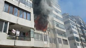 Fire in habitable building. Nature global warming.