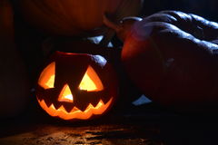 Fire halloween Pumpkin. Fire Pumpkin under moonlight in the dark Royalty Free Stock Photo