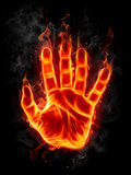 Fire hand. On black background Stock Images