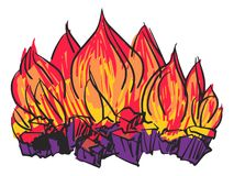 Fire. Hand drawn, cartoon, sketch illustration of fire Stock Photography