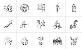 Fire hand drawn sketch icon set. Fire hand drawn outline doodle icon set for print, web, mobile and infographics. Fire vector sketch illustration set isolated Stock Photos