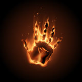 Fire hand illustration. In vector Royalty Free Stock Image