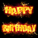 Fire Text Happy Birthday. Fire Happy Birthday text in burning flames Royalty Free Stock Image