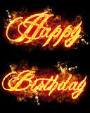 Fire Text Happy Birthday. Fire Happy Birthday text in burning flames Royalty Free Stock Images