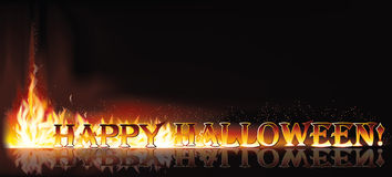 Fire happy halloween invitation banner Stock Images