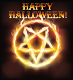 Fire happy halloween pentagram. Vector illustration Stock Image