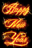 Fire Text Happy New Year. Fire Happy New Year text in burning flames Royalty Free Stock Images