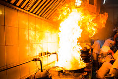 Fire hard cooking Royalty Free Stock Photography