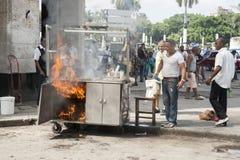 Fire in Havana street. Royalty Free Stock Photo