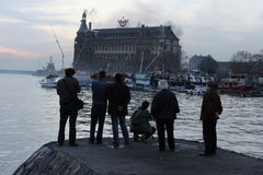 Fire at the Haydarpasa Train Station Stock Photography