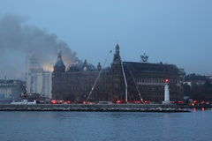 Fire at the Haydarpasa Train Station Stock Photos