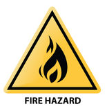 Fire hazard. Sign in yellow Royalty Free Stock Images