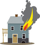 Fire hazard. Family home on fire, flames coming out of a window, EPS 8 vector illustration Stock Photography