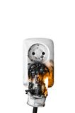 Fire hazzard. Electrical failure in power outlet isolated Stock Images
