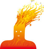 Fire head. Head on fire with flames instead of hair. One of the natural elements Stock Photography