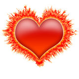Fire heart 1. Fire heart in red, orange and yellow flames Stock Photo