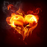 Fire heart. Burning heart on dark background Stock Photo