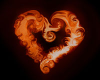 Fire heart. Illustration flame abstract background. Burning wildfire heart in the night/black background Royalty Free Stock Photography