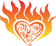 Fire heart. Vector burning heart on a white background Royalty Free Stock Photo