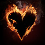 Fire heart. Fire heart over black background Royalty Free Stock Photo