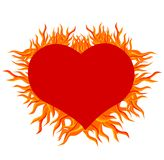 Fire heart. Illustration of valentines heart with fire flames Stock Images