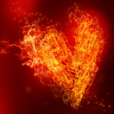 Fire Heart. With small hearts on red background Stock Images