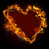 Fire heart. On black background Royalty Free Stock Photography