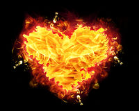Fire Heart. Badge with burning flames Royalty Free Stock Photography