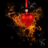 Fire Heart Bauble Royalty Free Stock Photography