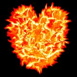 Fire heart with black background.  Royalty Free Stock Photo