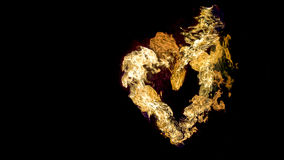 Fire heart on black background Royalty Free Stock Photography