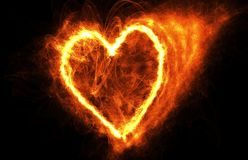 Fire Heart On Black. Fire Heart Flying In Dark Space, Frame For Tet Stock Photo