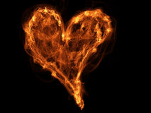 Fire heart. Bright symbol, lovely illustration for Saint Valentine day Stock Photography