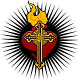 Fire Heart And Cross Stock Photo