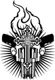 Fire Heart, Guns And Cross. Black And White Vector Illustration Stock Photo