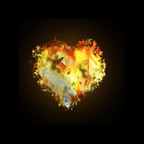Fire heart. Icon on black background Royalty Free Stock Photo