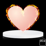 Fire heart on a pedestal. Abstract decoration for party, birthda. Y celebrate, anniversary or event, festive. Festival decor. Modern design, Vector illustration Royalty Free Stock Images