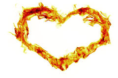 Fire heart shape. On white background Royalty Free Stock Photo