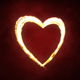 Fire heart. Valentines day or hot love concept - fire heart Royalty Free Stock Photo